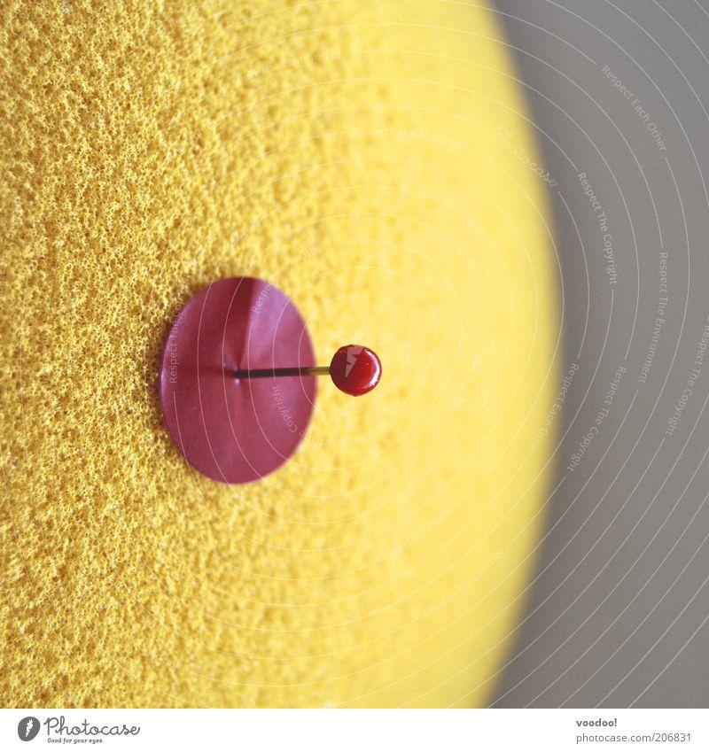 Voodoonippel rot gelb Schilder & Markierungen Ziel Punkt Makroaufnahme Zielscheibe Treffer fixieren Stecknadel Schwamm kennzeichnen Treffpunkt Voodoo Stichpunkt punktuell