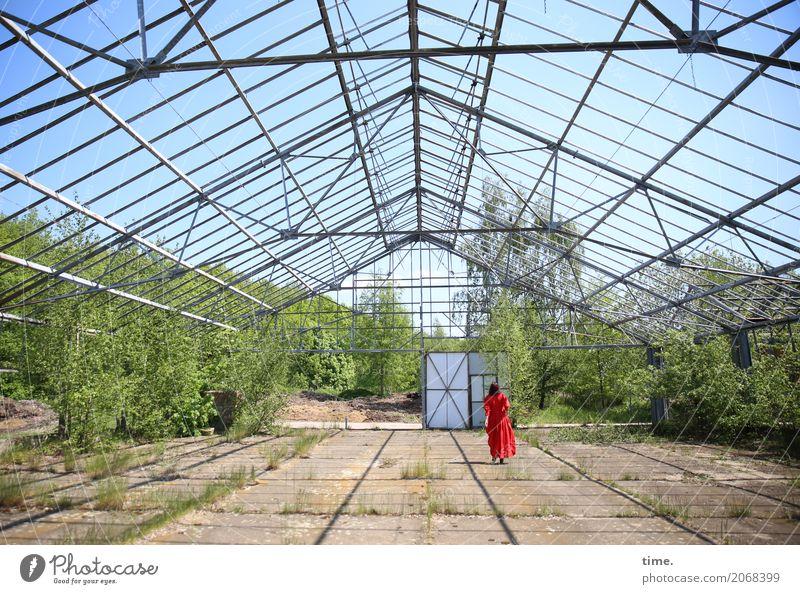 AST 10 | red on green under blue Mensch Frau Pflanze Stadt schön Ferne Erwachsene Architektur Bewegung feminin Zeit Stimmung gehen Tür ästhetisch Perspektive