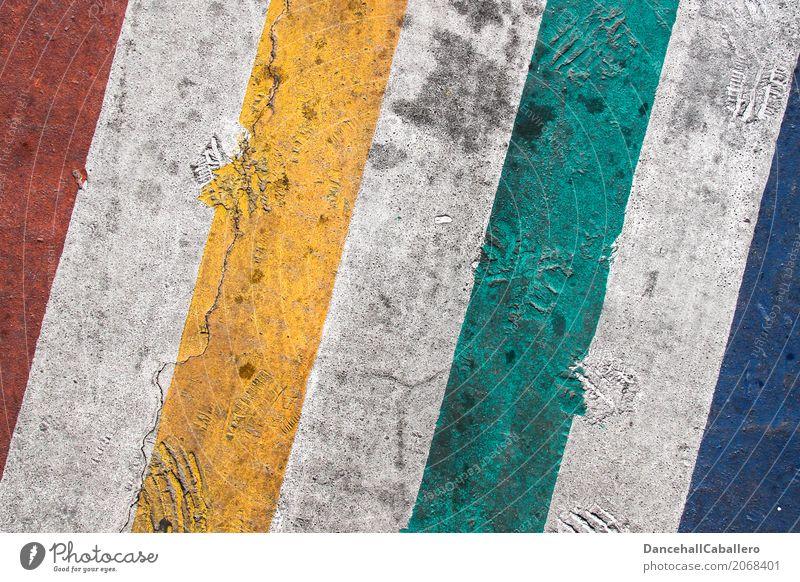 bunt sein... Linie Streifen trendy einzigartig blau gelb grün rot weiß Lebensfreude Akzeptanz Zusammensein Liebe Solidarität ignorant Hass