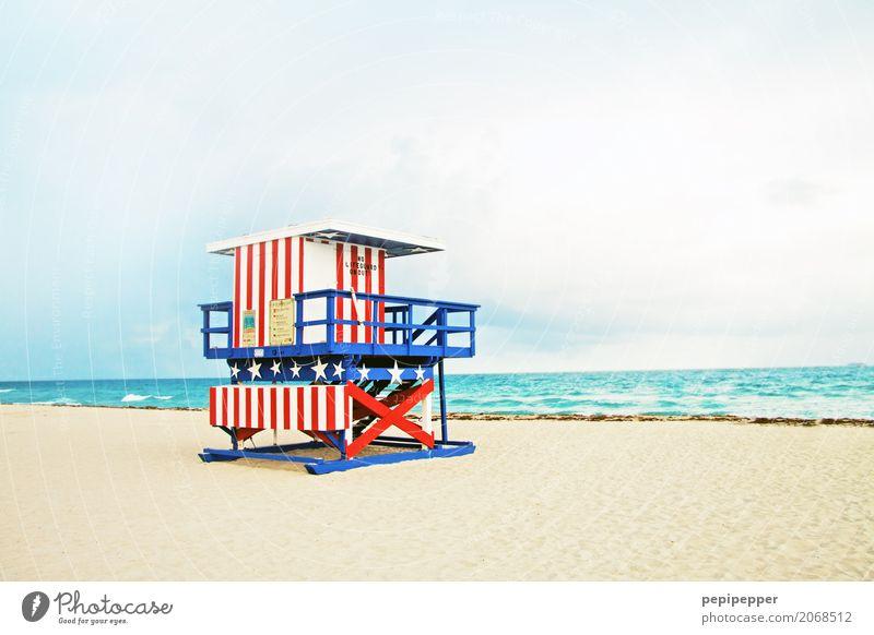 Miami Kunstwerk Sand Wasser Sommer Wellen Küste Strand Meer USA Amerika Fassade Sehenswürdigkeit Wahrzeichen Linie mehrfarbig