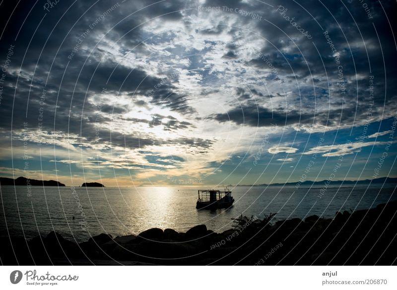 Sonnenaufgang im Abel Tasman Nationalpark Landschaft Luft Wasser Himmel Wolken Sonnenuntergang Küste Strand Bucht Meer Pazifik Bootsfahrt Fischerboot Abenteuer