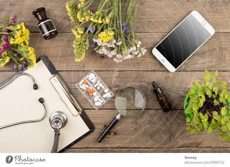Pflanze grün weiß Holz Business braun oben Arbeit & Erwerbstätigkeit Textfreiraum Büro Tisch Papier Telefon Medikament Wissenschaften Arzt