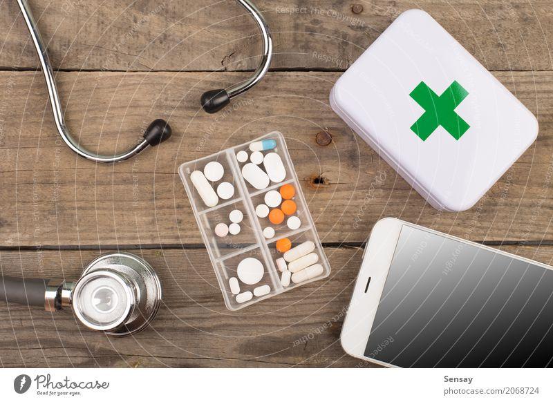 Arbeitsplatz eines Arztes Flasche Medikament Schreibtisch Tisch Wissenschaften Arbeit & Erwerbstätigkeit Büro Krankenhaus Business Telefon PDA Bildschirm