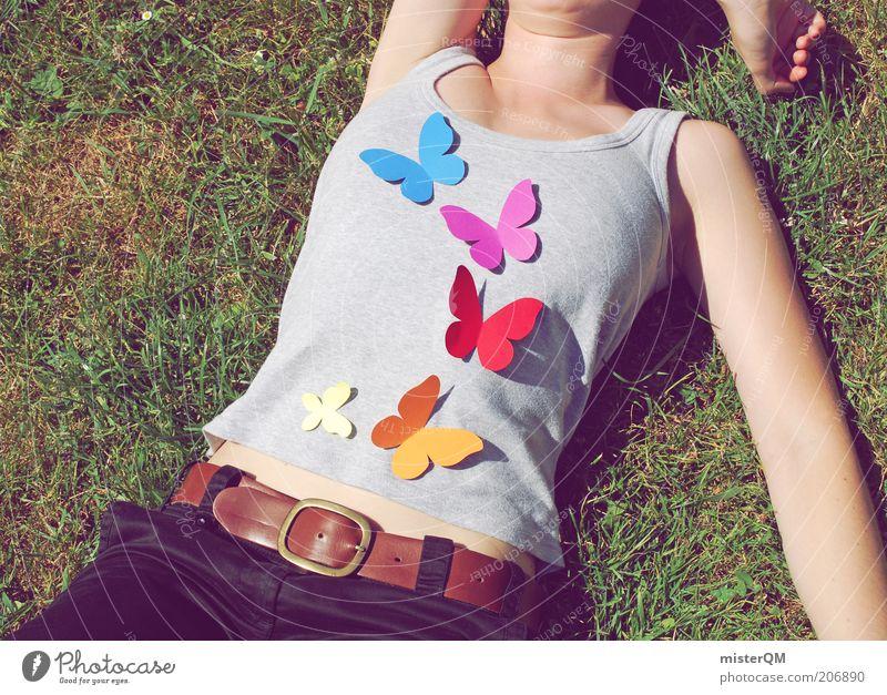 Dieses Kribbeln im Bauch... Frau Mensch Jugendliche schön Sommer ruhig Liebe Erholung Wiese Freiheit Gefühle Frühling Zufriedenheit liegen modern