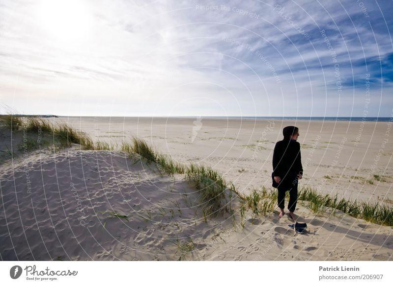 abschalten Frau Mann Natur Wasser Himmel Meer Pflanze Sommer Strand Ferien & Urlaub & Reisen schwarz Wolken Einsamkeit Glück träumen Sand