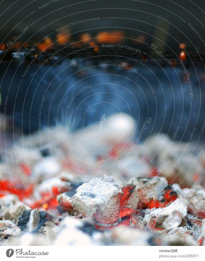 Rostern. weiß Wärme Feuer Kochen & Garen & Backen Freizeit & Hobby heiß Rauch Grillen Flamme hören Grill abstrakt Glut Grillrost ungesund Makroaufnahme