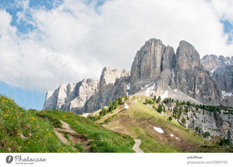 Passo Gardena Umwelt Natur Landschaft Pflanze Wolken Baum Wiese Hügel Felsen Alpen Berge u. Gebirge Gipfel außergewöhnlich bizarr steil Wege & Pfade