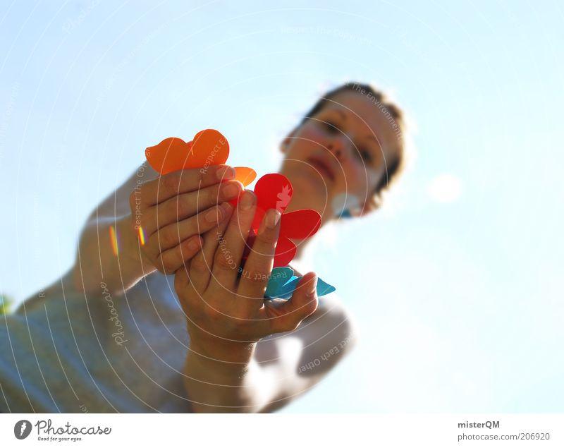 Feeling. Freizeit & Hobby ästhetisch mehrfarbig Basteln Kreativität Frau Lebensfreude Auswahl viele Blume Hand zeigen behutsam Präsentation Sommer Hautpflege