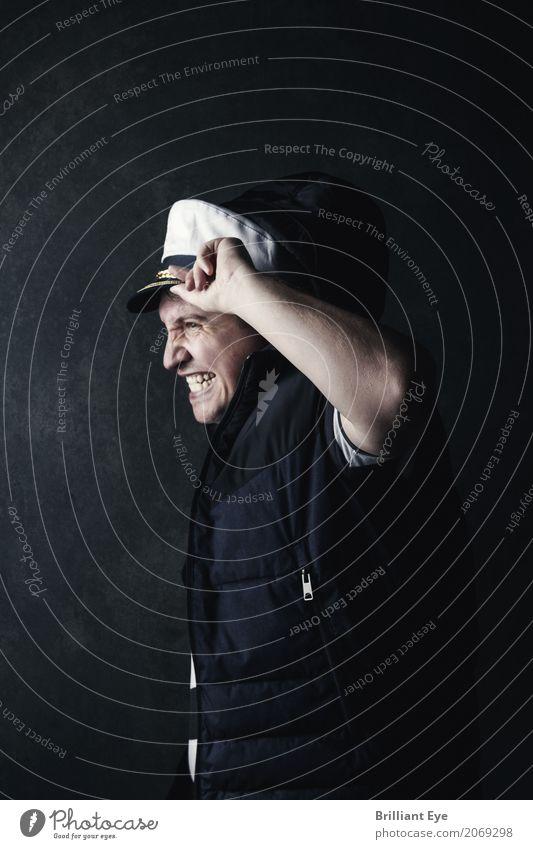stürmische Zeiten Mensch Ferien & Urlaub & Reisen Jugendliche Mann Meer 18-30 Jahre Erwachsene Lifestyle Gefühle Stimmung Regen maskulin Angst Wind gefährlich