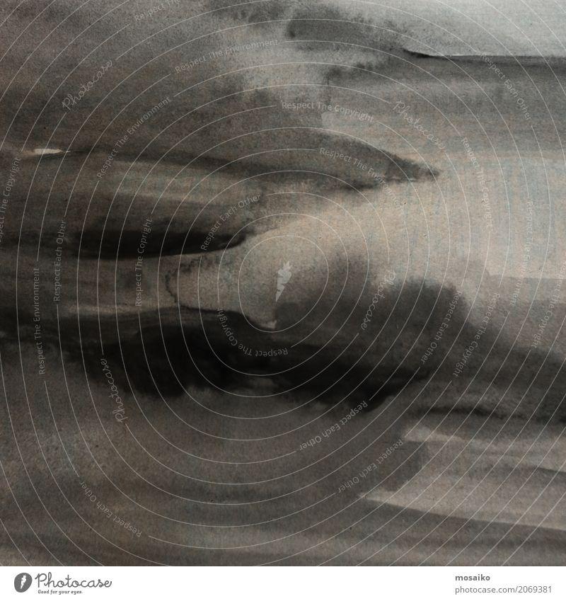 schwarze Tinte Stil Design Kunst Mauer Wand ästhetisch bedrohlich retro braun Traurigkeit Trauer Tod dunkel Tusche grau beige Wolken klecksen malen alt Patina