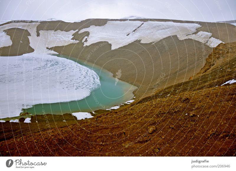 Island Umwelt Natur Landschaft Urelemente Erde Wasser Himmel Klima Eis Frost Schnee Hügel Vulkan Krafla See Vitikrater außergewöhnlich fantastisch kalt