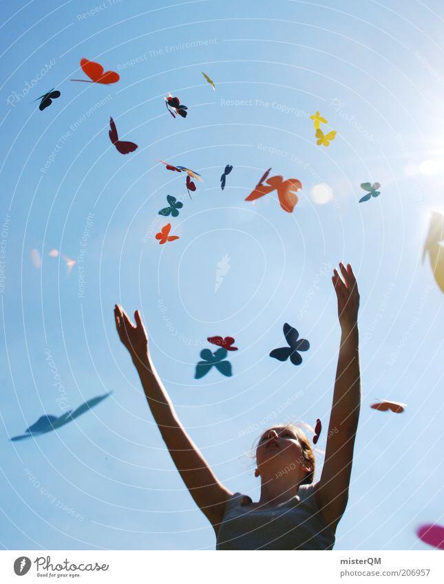 Tagtraum. Frau Jugendliche Sommer Freude Freiheit träumen Zufriedenheit Blick nach oben Design fliegen Lifestyle Fröhlichkeit modern ästhetisch Klima