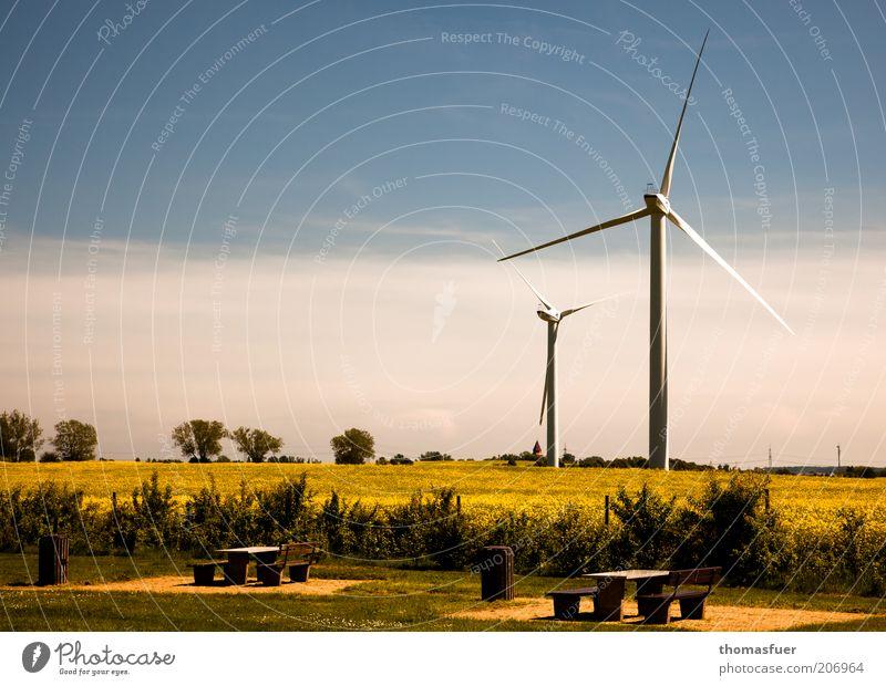 Picknick mit Ventilation Himmel Sommer Feld Umwelt Energie Energiewirtschaft Zukunft Bank Klima Windkraftanlage Schönes Wetter Umweltschutz Blauer Himmel Raps nachhaltig Fortschritt