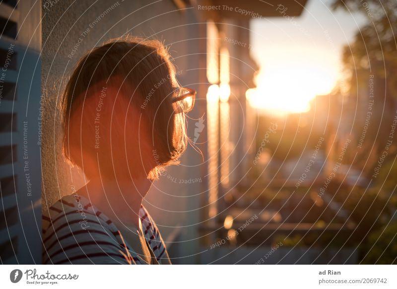 Sonnendeck I Mensch feminin Frau Erwachsene Kopf Haare & Frisuren 1 30-45 Jahre Umwelt Himmel Horizont Sonnenaufgang Sonnenuntergang Sonnenlicht Sommer Stadt
