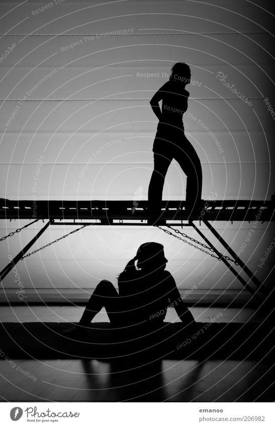 trampladies Mensch Frau Jugendliche Freude schwarz Erwachsene Sport Bewegung springen Stil Kraft Freizeit & Hobby sitzen warten ästhetisch Lifestyle