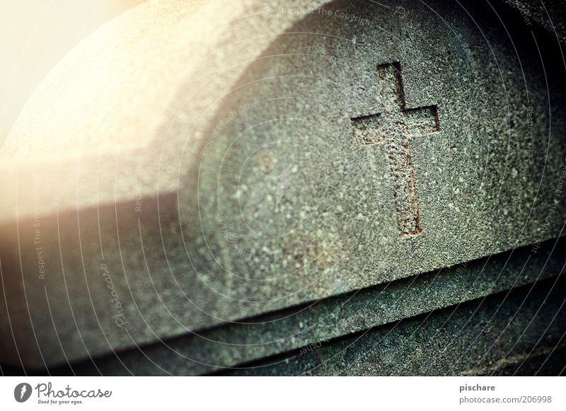 R.I.P natürlich Gefühle Mitgefühl ruhig Glaube Traurigkeit Tod Ewigkeit Trauer Vergänglichkeit Grab Friedhof Grabstein Christliches Kreuz Farbfoto Außenaufnahme