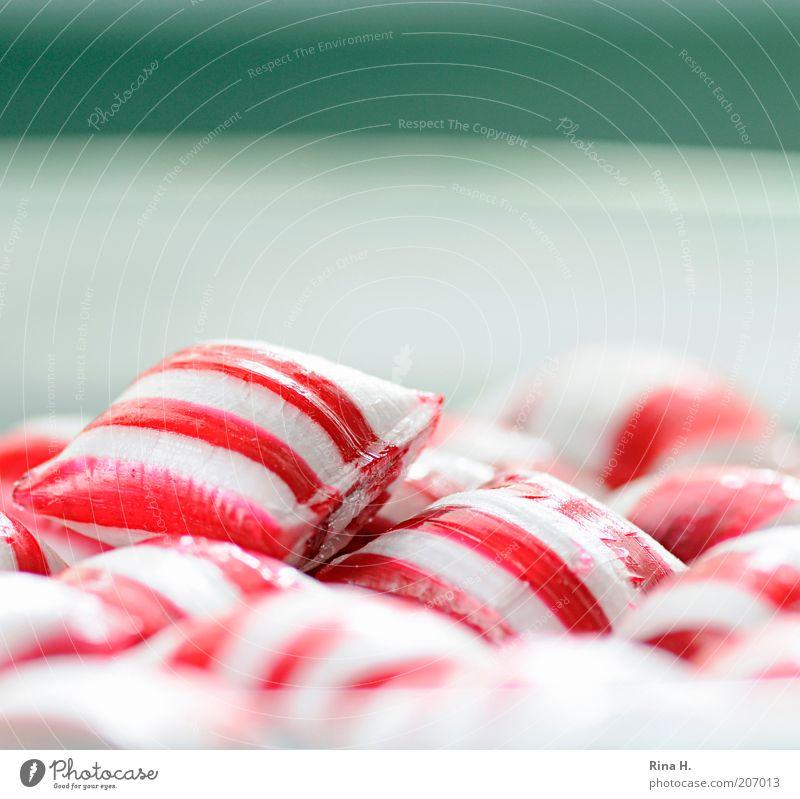 PepperMint weiß rot Glück rosa frisch Fröhlichkeit süß retro Kitsch lecker Süßwaren genießen Teller Bonbon Zucker gestreift
