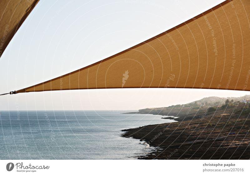 Sonnensegel Wasser Meer Sommer Ferien & Urlaub & Reisen Ferne Freiheit Landschaft Küste Ausflug Schutz Umwelt Bucht beige Portugal Blauer Himmel Wetterschutz