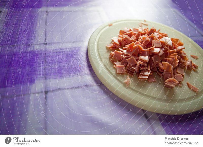 Schinken Ernährung Linie Tisch Kochen & Garen & Backen Küche rund Teile u. Stücke lecker Symbole & Metaphern Fleisch Abendessen Mahlzeit Schneidebrett Mittagessen geschnitten Snack