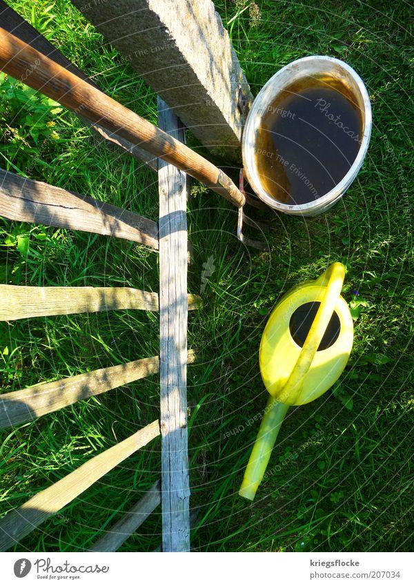 Es grünt so grün... Wasser Pflanze Sommer gelb Arbeit & Erwerbstätigkeit Gras Holz Zaun Schönes Wetter Gartenarbeit Eimer Gießkanne Forke Gartenzaun