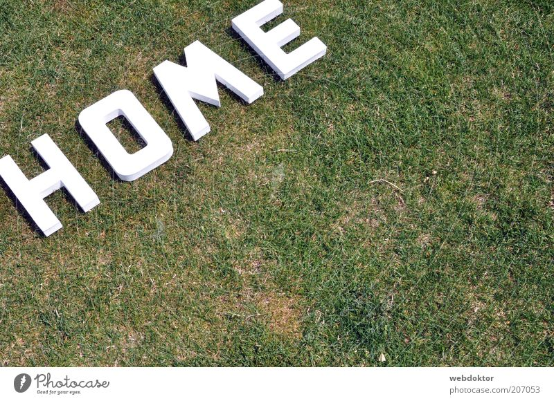 home sweet home Wiese Kunststoff Zeichen Schriftzeichen weiß Farbfoto Außenaufnahme Menschenleer Textfreiraum rechts Tag Sonnenlicht Vogelperspektive Buchstaben