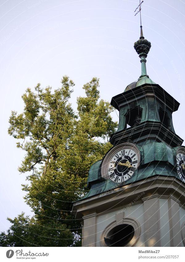 Uhrturm elegant Kultur Natur Wolkenloser Himmel Altstadt Kirche Dom Burg oder Schloss Turm Bauwerk Gebäude Architektur Fassade Sehenswürdigkeit Denkmal alt