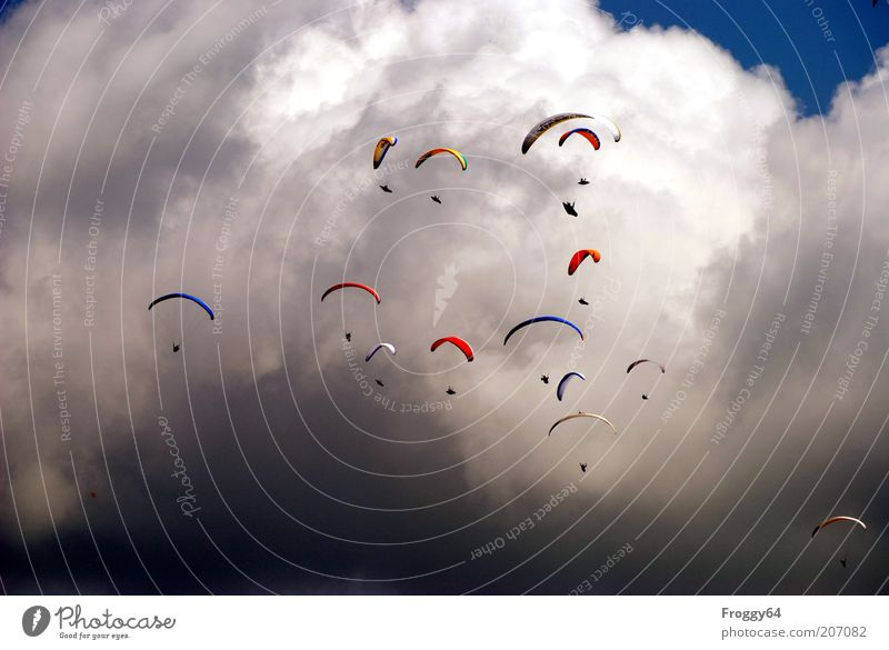 Wie die Lemminge Himmel blau Ferien & Urlaub & Reisen Sommer Wolken Sport Gefühle grau Wärme Menschengruppe Wetter Freizeit & Hobby fliegen Abenteuer