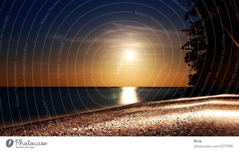 .Bali Moon Rising Natur Meer Sommer Strand Ferien & Urlaub & Reisen ruhig Ferne Erholung Freiheit Landschaft Stimmung Küste Ausflug Insel Tourismus Reisefotografie