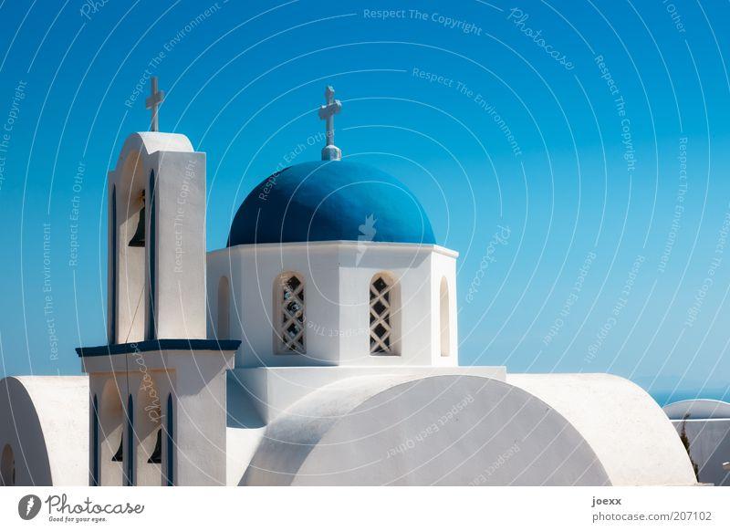 Santorini weiß blau Sommer Ferien & Urlaub & Reisen Haus Wand Mauer Gebäude Religion & Glaube Architektur Insel Kirche Tourismus rund Dach Reisefotografie