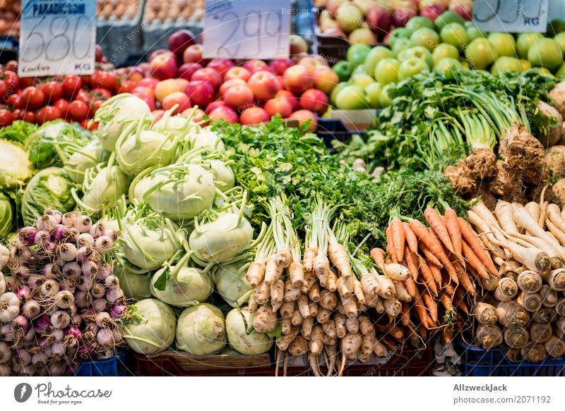 Gemüsemarkt Lebensmittel Ernährung Bioprodukte Apfel Vegetarische Ernährung Diät Salat Salatbeilage Möhre Zwiebel Rüben Kohlrabi