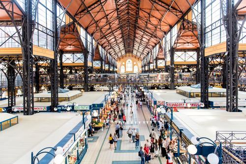 Marthalle Architektur Gebäude kaufen Bauwerk Sehenswürdigkeit Hauptstadt Altstadt Stadtzentrum Fabrik Marktplatz Bahnhof Halle bevölkert Budapest Ungarn