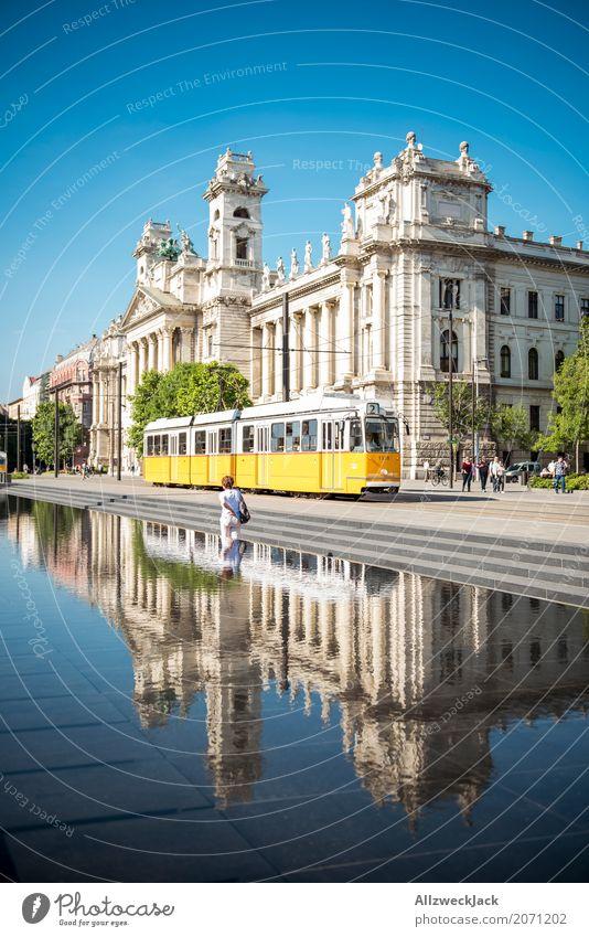 Ethnologisches Museum Budapest 3 Farbfoto Außenaufnahme Tag Reflexion & Spiegelung Totale Ferien & Urlaub & Reisen Tourismus Ausflug Sightseeing Städtereise