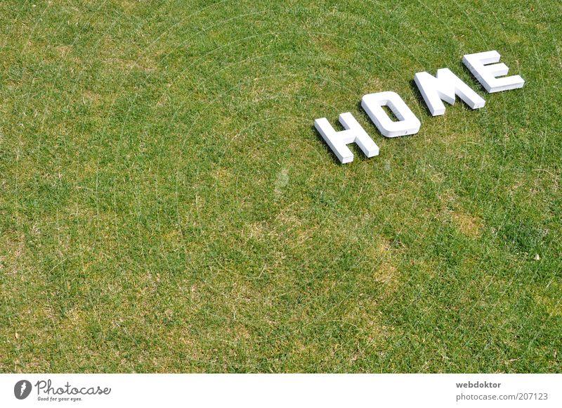 home sweet home weiß grün Gras hell Rasen Schriftzeichen Buchstaben Zeichen trocken Dürre