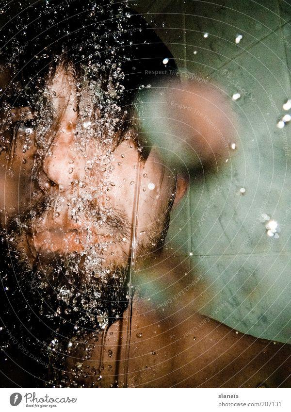 wasserfall Körperpflege Haare & Frisuren Gesicht Leben Bad Mensch maskulin Mann Erwachsene Kopf Wasser Flüssigkeit duschen Waschen Erfrischung kühlen kalt
