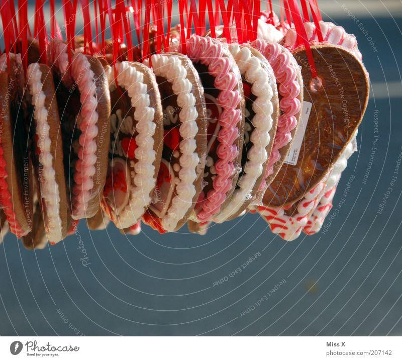 Herzig rot Liebe Lebensmittel Feste & Feiern rosa süß Geschenk Kitsch viele lecker Jahrmarkt Süßwaren hängen Markt Zucker