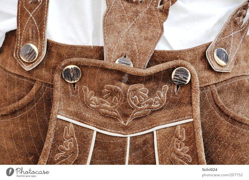 die Krachlederne - # 20 Lifestyle ausgehen Feste & Feiern Oktoberfest Jahrmarkt maskulin 1 Mensch Hose Trachtenhose Wildleder Leder historisch Kitsch braun weiß