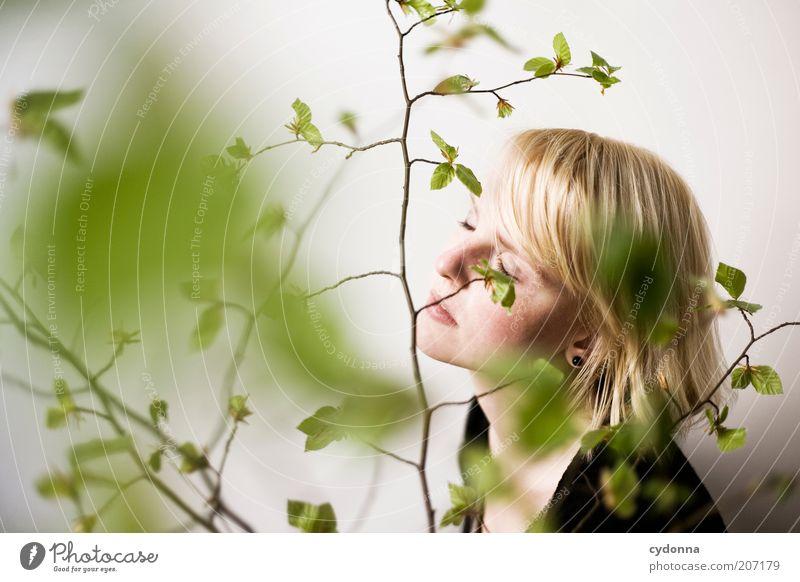 Hier und Jetzt Mensch Natur Jugendliche schön Pflanze Blatt ruhig Gesicht Erwachsene Erholung Frühling träumen Zeit Gesundheit Zufriedenheit Lifestyle