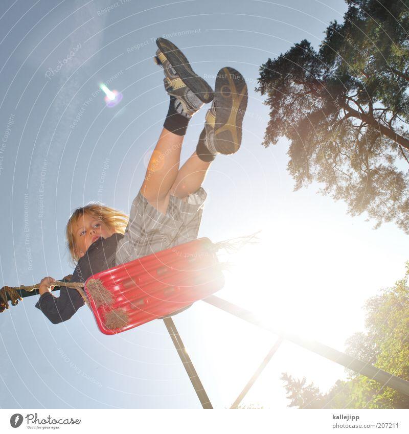 highlander Mensch Kind Natur Sonne rot Freude Junge Spielen Garten Freizeit & Hobby Kindheit Spielzeug Schaukel Spielplatz Blauer Himmel Gegenlicht