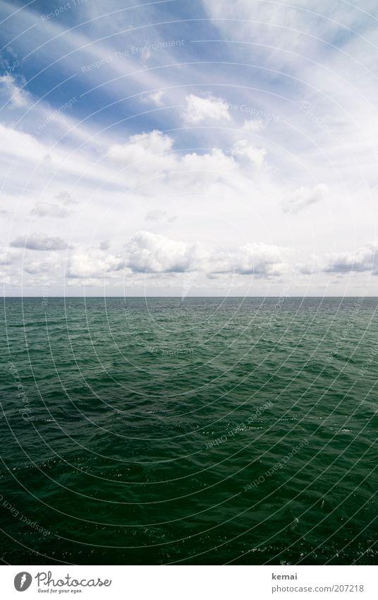 Ostsee Umwelt Natur Wasser Himmel Wolken Sonnenlicht Sommer Klima Schönes Wetter Wärme Meer Wasseroberfläche Meerwasser blau grün weiß Horizont