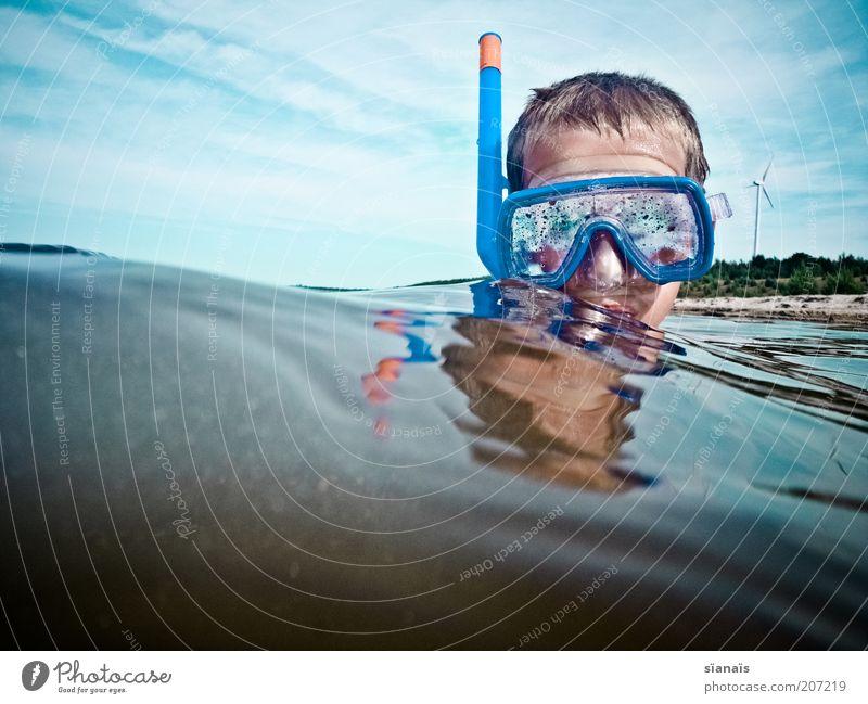 schnorch! Himmel Kind Natur Ferien & Urlaub & Reisen blau Wasser Sommer Wolken Strand Junge Spielen Schwimmen & Baden See Kopf Luft Wellen