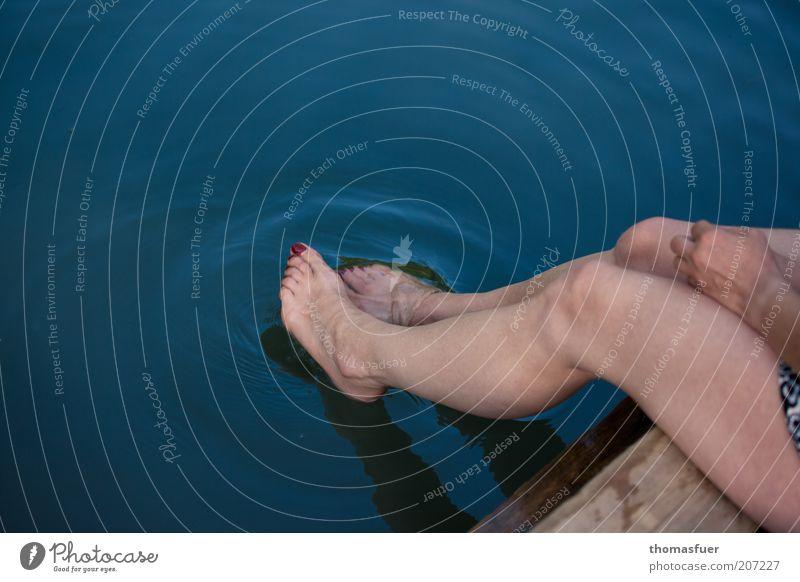 Verführung Frau Mensch Wasser Meer blau Sommer ruhig Erholung feminin Holz Fuß See Beine Zufriedenheit Erwachsene
