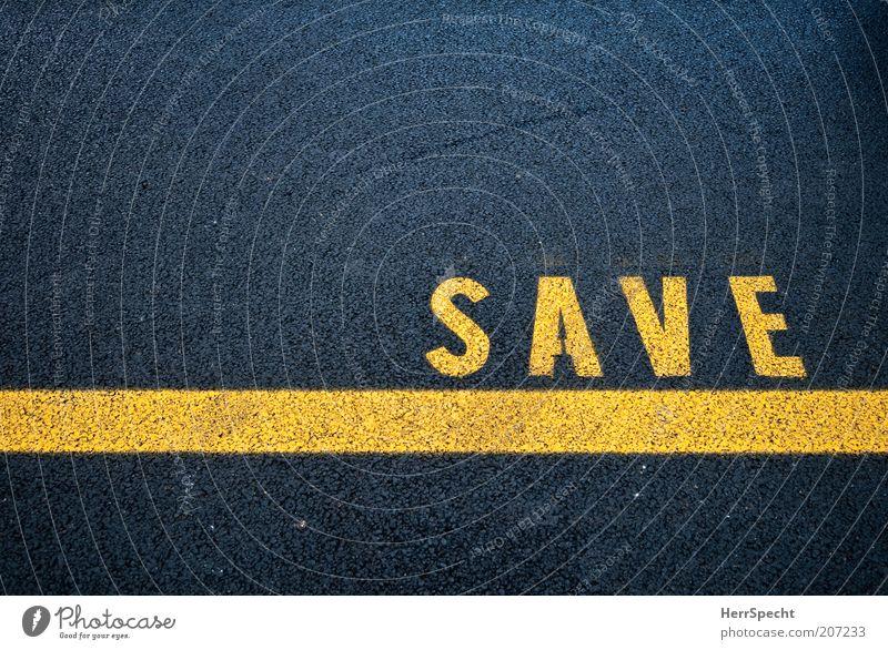 SAVE schwarz gelb Straße Linie Schilder & Markierungen Schriftzeichen gerade reserviert besetzen Fahrbahnmarkierung