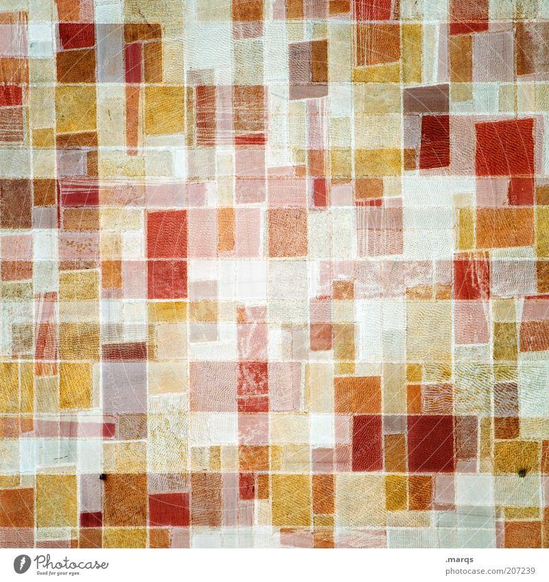 Mosaik Stil Design Mauer Wand außergewöhnlich trendy verrückt gelb rot verstört orange chaotisch eckig Linie Doppelbelichtung Farbfoto Nahaufnahme Experiment