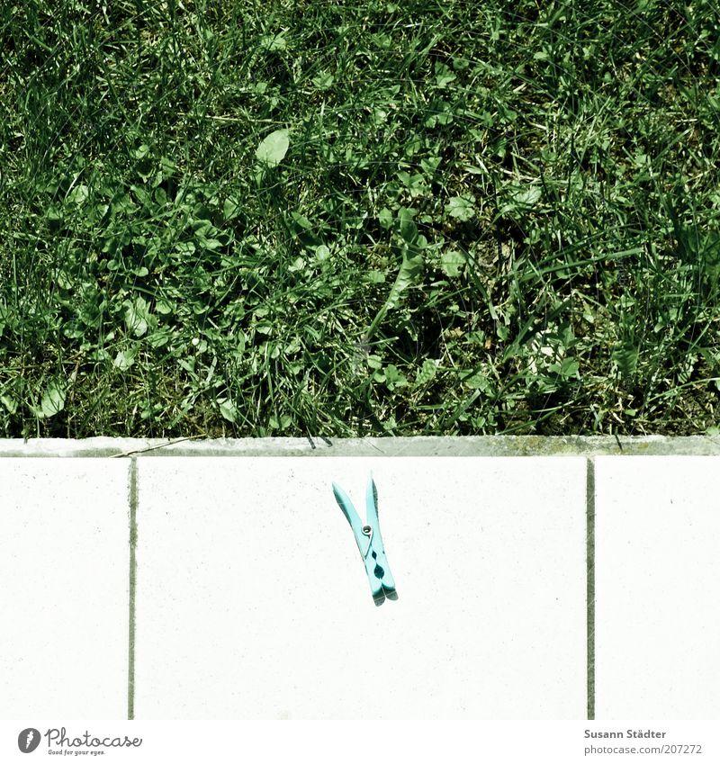 klammern Terrasse hängen Klammer festhalten Fliesen u. Kacheln Fuge Rasen grün hell grell Am Rand Ecke Wäscheklammern mehrfarbig Außenaufnahme Detailaufnahme
