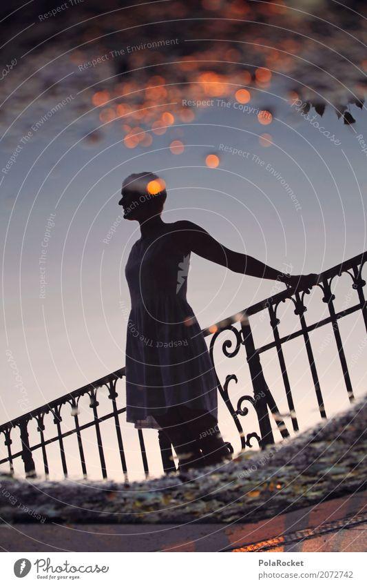 #A# Kupfergoldener Morgen Frau Himmel Junge Frau feminin Kunst leuchten glänzend ästhetisch Idylle Perspektive Romantik Kreis Hoffnung Glaube Geländer