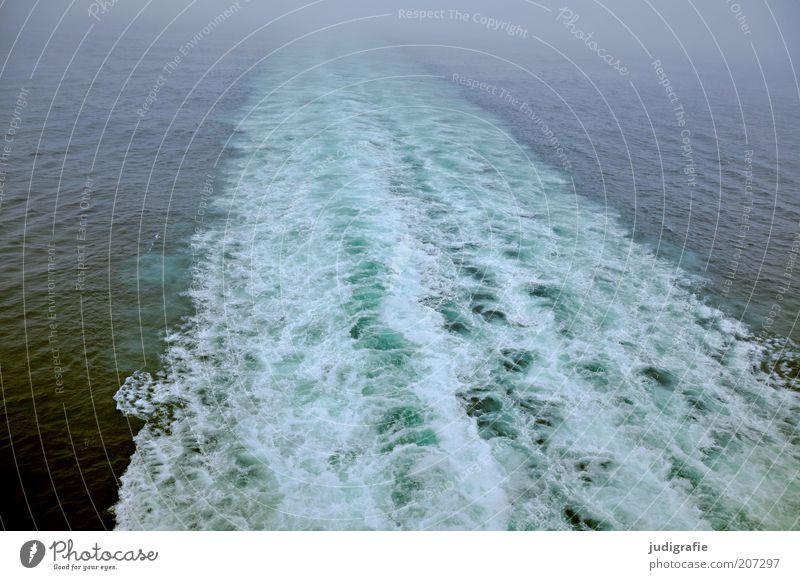 Reise Natur Wasser Meer Ferien & Urlaub & Reisen Einsamkeit Ferne kalt Linie Wasserfahrzeug Stimmung Wellen Umwelt Verkehr Geschwindigkeit Spuren wild