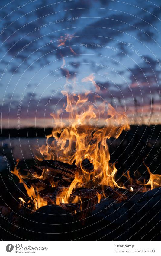 Long Nights II harmonisch Feuer Lagerfeuerstimmung Feuerstelle orange Menschenleer Holz brennen Flamme Wärme Glut Kohle gelb Kurzzeitbelichtung