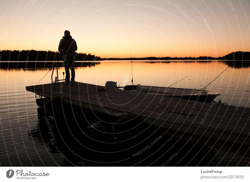 Abendglut harmonisch Sonnenuntergang Abenddämmerung Wasser See Schäre Ferien & Urlaub & Reisen Ferne Freiheit Sommer Angeln Wasserfahrzeug Anlegestelle Steg