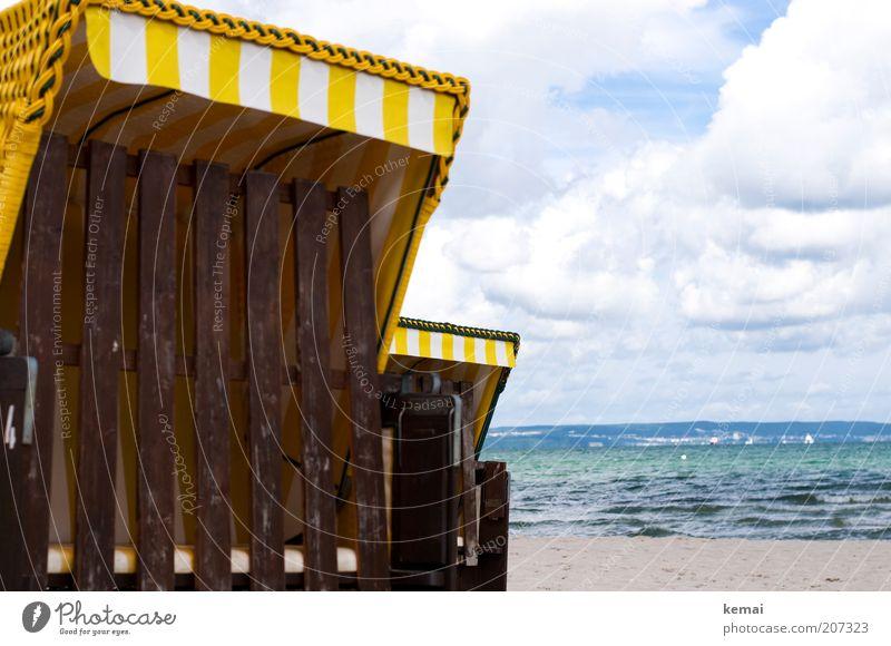 Geschlossene Körbe Natur Wasser Himmel Meer grün blau Sommer Strand Wolken gelb Sand Landschaft Wellen Küste Umwelt geschlossen