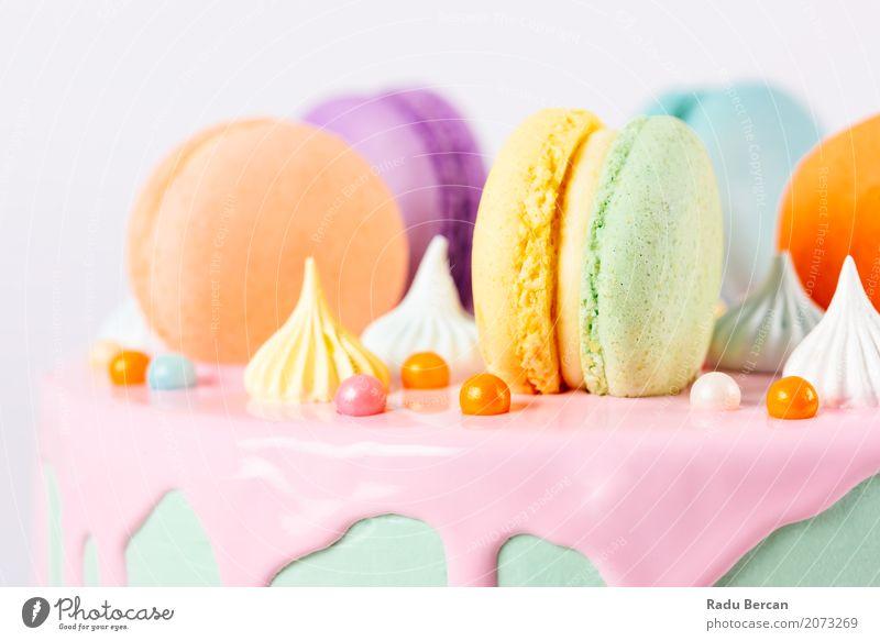 Bunter Macaron-Geburtstags-Kuchen und süßer Süßigkeits-Belag blau Farbe grün weiß Essen gelb Lebensmittel Feste & Feiern rosa orange Ernährung retro rund